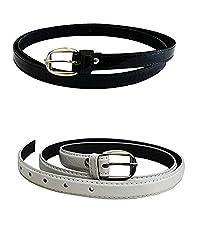 Shara Girl's PU leather belts set of 2 combo (Black & White)(SHA/WOMENBELTS/BKWH)