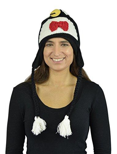 [Belle Donne - Unisex Winter Knit Penguin Animal Hats With Pom Pom - Black] (Pork Pie Hat For Sale)
