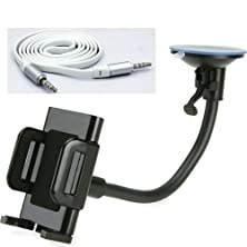 buy Fonus Universal Car Mount Windshield Holder Vehicle Dash/Window Dock Stand Cradle + White Tangle Free Flat Cable Car Audio Stereo Aux Cable 3.5Mm Jack Connector Adapter For Alcatel One Touch Shockwave, Onetouch Evolve, 768, Shockwave, Onetouch Fierce