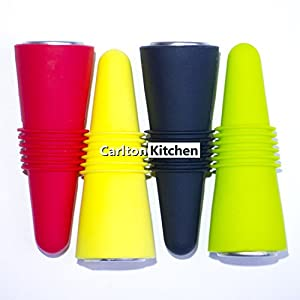 Carlton Kitchen Silicone Bottle Stoppers, Set of 4 Multi-color
