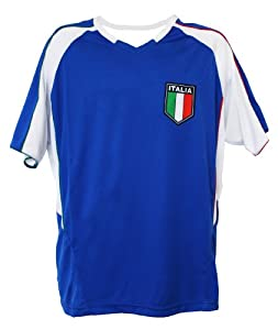 World Cup Soccer Italia Home Performance Poly Shirt, Small, Blue