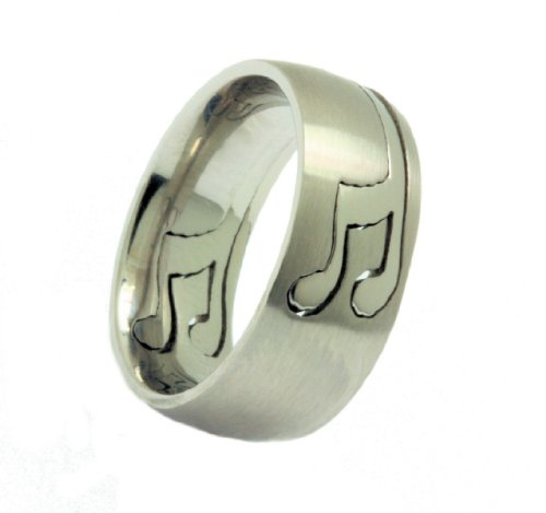 Musical Note Puzzle Ring 316L Stainless Steel Comfort Fit 8mm Size 12.5