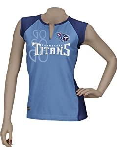Tennessee Titans Ladies Reebok Two-Toned Split Neck T-Shirt by Reebok