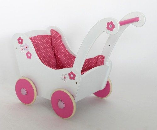 Holz-Puppenwagen weiss/rosa,42cmHöhe