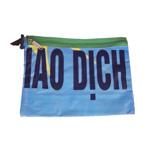 Image of Recycled Billboard Bag with Green Zipper