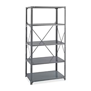 """Safco Products 6266 Commercial Shelf Kit 36 x 18"""", 5-Shelf, Gray"""
