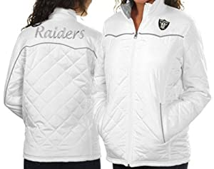 NFL Oakland Raiders Ladies White Spectator Quilted Full Zip Jacket, Size Small by G-III Sports