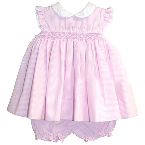 Smocked Pink Stripe Dress W/ Rose Embroidery W/ Matching Bloomers And Bonnet(Newborn) front-731451