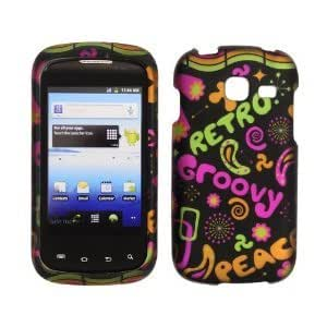 Samsung R730 / Transfix Transparent Retro and Groovy on Black Rubberized Design Plastic Case, SnapOn, Protector, Cover