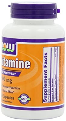 NOW Foods L-Glutamine 500mg, 120 Capsules, Pack of 4