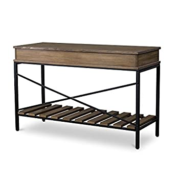 Baxton Studio Newcastle Wood and Metal Criss-Cross Console Table, Brown