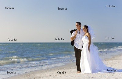 "Wallmonkeys Peel and Stick Wall Graphic - Bride & Groom Married Couple at Beach Wedding - 48""W x 31""H"