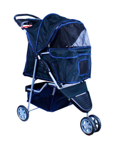 New Deluxe Folding 3 Wheel Pet Dog Cat Stroller Carrier W Cup Holder Tray Black front-967701