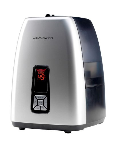 AIR-O-SWISS 7144 Ultrasonic Humidifier with 2 Cartridges and 4-pk of EZ-Cal Cleaner