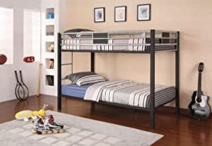 Twin Size Metal Bunk Bed - Black and Silver from Coaster