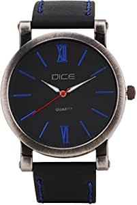 """Dice """"Vintage 1212"""" Casual Round Shaped Wrist Watch For Men. Fitted with Beautiful Black Color Dial and Anti Allergic Leather Strap"""