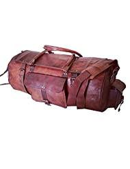 Real Leather Handmade Travel Luggage Vintage Overnight Weekend Gym Duffel Bag