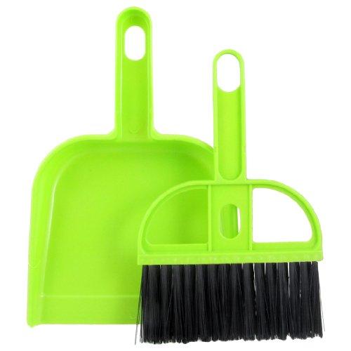 Green Black Plastic Bristle Car Computer Fan Blade Brush Dustpan Cleanner Set front-589995