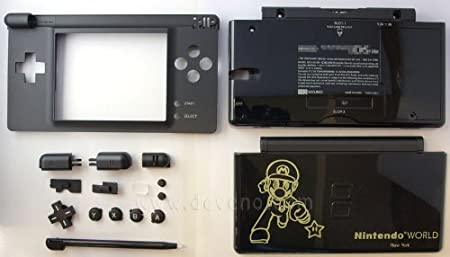 Black Mario World Nintendo DS Lite Complete Full Housing Shell Case Replacement Repair w/ Hinge Set