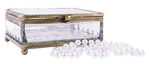 French Vintage Crystal Glass Jewelry Box