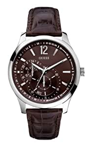 GUESS Men's U95152G2 Contemporary Brown Leather Dress Watch