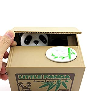 Cute Kids Stealing Coins Cents Penny Buck Saving Money Box Pot Case Piggy Bank from foreveryang