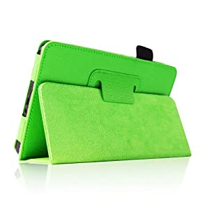 """supershopmall (Green) Slim Fit Folio Stand Leather Case for Amazon Kindle Fire 7"""" Tablet -10 Color Options (does not fit Kindle Fire HD) by L.A. stock"""
