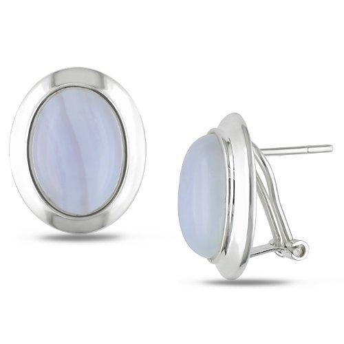 Sterling Silver 10x14 White Agate Earrings Omega Backs