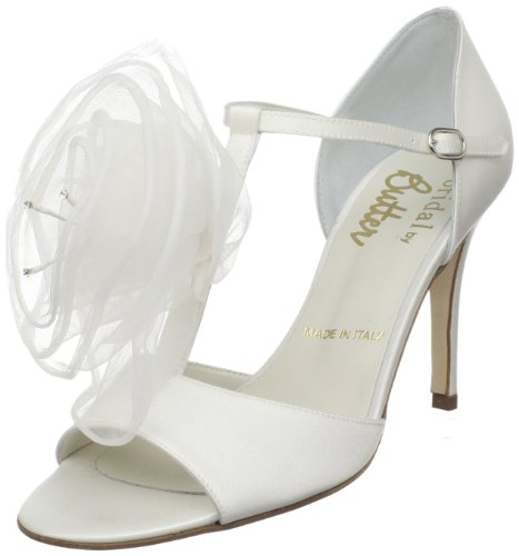 Rev Bridal by Butter Women's Cullen-B T-Strap Sandal,White Satin/Flower,6.5 M US