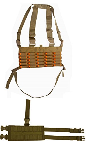 Coyote Tan Chest Rig 25 Round 12 & 20 GA Gauge Elastic Shotgun Shotshell Holder Hunting Harness Vest with Hidden Internal Utility Pocket + Ambidextrous 24 Shell Ammo Reload Carrier Thigh Dropleg (Soe Micro Rig compare prices)