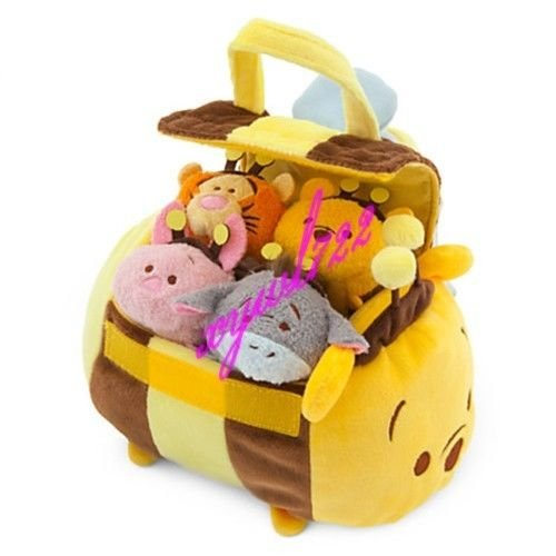 [Cute Tsum Tsum Large HONEYBEE Winnie the Pooh Satchel + 4 Tiny Toys] (Dog Pooh Bear Costume)