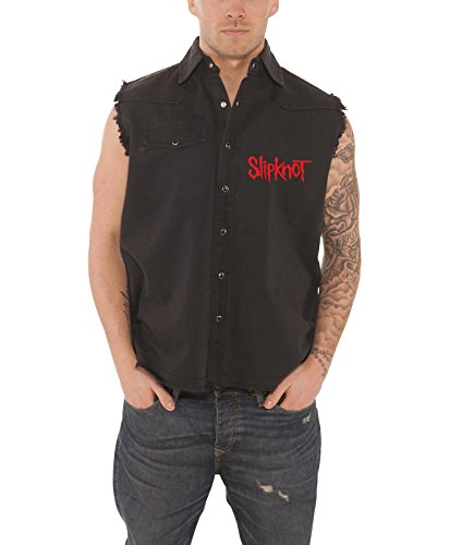 Slip Knot 9 Point Star ufficiale uomo Nue Nero Frayed Button Up work Shirt