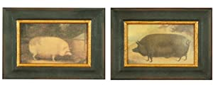 Chic Antique Farm Animal Faux Oil Paintings, Set of 2 French Country Kitchen Artwork in Distressed Black Frames