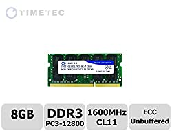 Timetec (79TT16EUSL2R8-8G) 8GB DDR3L 1600MHz (PC3-12800) Unbuffered ECC 1.35V CL11 2Rx8 512x8 Dual Rank 204 Pin SODIMM Server Memory Module Upgrade Hynix IC (8GB)