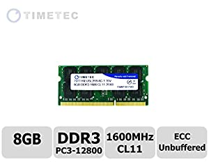 Timetec (79TT16EUSL2R8-8G) 8GB DDR3L 1600MHz (PC3-12800) Unbuffered ECC 1.35V CL11 2Rx8 512x8 Dual Rank 204 Pin SODIMM Server Memory Module Upgrade Hynix IC (8GB)