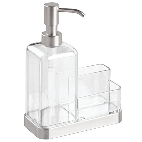 InterDesign Forma Kitchen Countertop Soap Dispenser Pump, Sponge, Scrubby Organizer - Clear/Brushed Stainless (Countertop Kitchen compare prices)