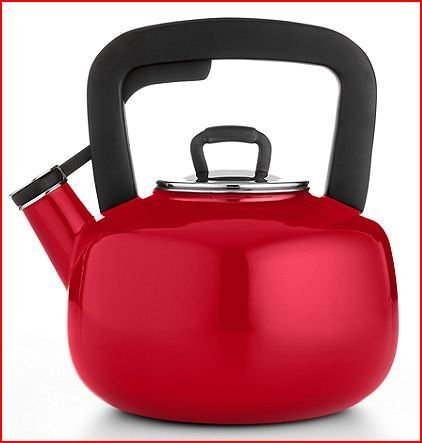 Martha Stewart Collection Enameled Steel 2.5 Qt. Tea Kettle - Red