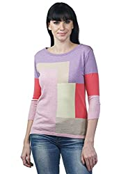 Women's Boat Neck 3/4 th Sleeve Pointelle Intarsia Top