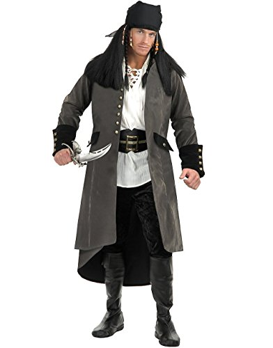 Adult's Treasure Island Pirate Grey Faux Suede Duster Jacket Trench Coat