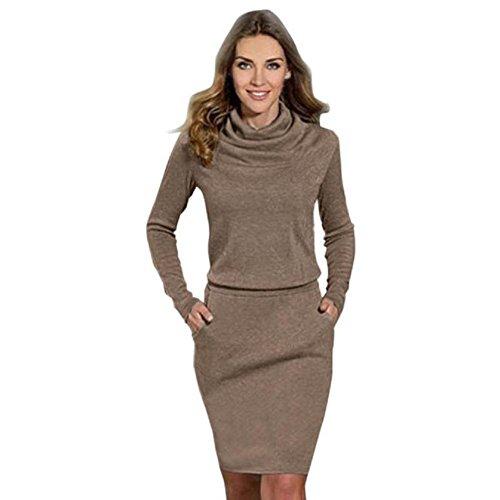 abito da cocktail di business per le donne, FEITONG signore moda hip mini matita sottile usura ufficio (Caffè, L)