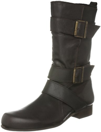 Fly London Women's Dark Piombo/Black Mid Calf Boots P141998000 5 UK