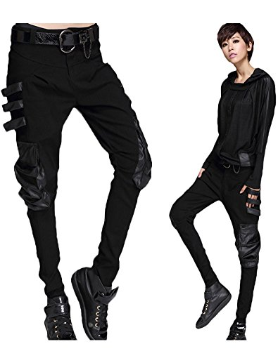 Women's Patchwork Leather Pants
