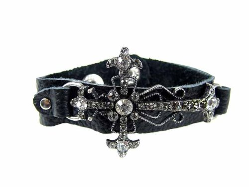 Silver Side Ways Cross Bracelet With Clear Rhinestones Snap Button Adjustable