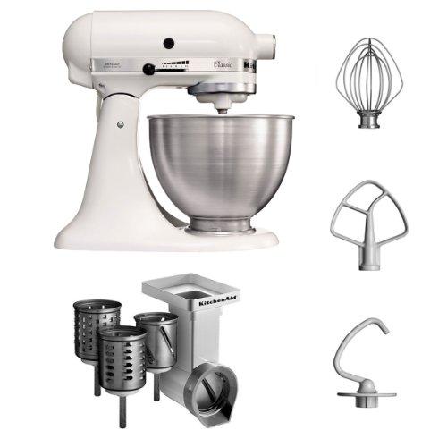 KitchenAid 5K45SSEWH + MVSA Küchenmaschine Serie mit Standardzubehör und Gemüseschneider, Schnitzelwerk mit 3 Tromme, classic weiß