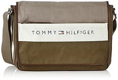 Tommy Hilfiger LANCE MESSENGER W/ FLAP BM56924703 Herren Umhängetaschen 40x29x11 cm (B x H x T), Braun (DESERT TAUPE / DARK OLIVE-PT 242)