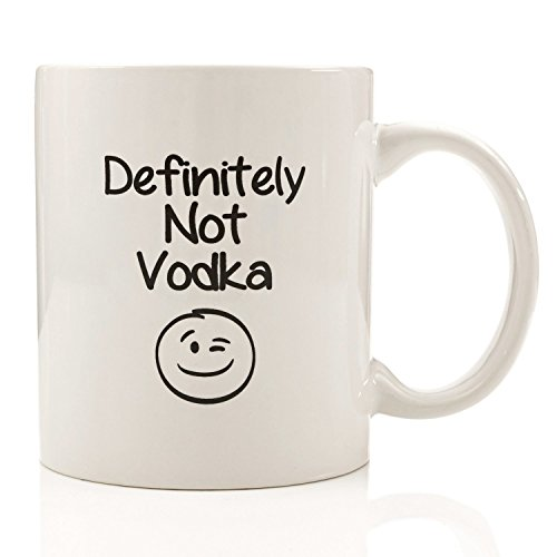 Definitely Not Vodka Funny Coffee Mug - Unique Christmas Present Idea for Men & Women, Him or Her - Best Office Cup & Birthday Gag Gift for Coworkers, Mom, Dad, Kids, Son, Daughter, Husband or Wife