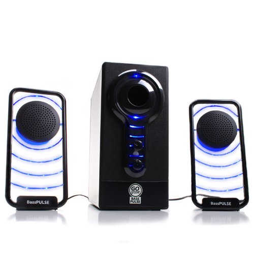 GOgroove BassPULSE 2.1 Stereo Speaker Sound System with Powered Subwoofer for Desktops , Laptops , Tablets , MP3 Players , Home Theater &amp; More!