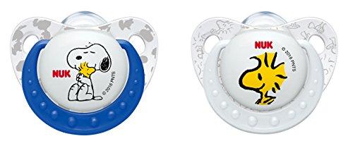 NUK 10177072 Die Peanuts Trendline Silikon-Schnuller, Größe 18-36 Monate, kiefergerechte Form, BPA frei, 2 Stück, Farbe nicht wählbar