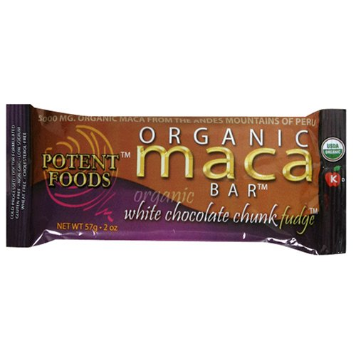 Buy Potent Foods Organic Maca Bar, White Chocolate Chunk Fudge, 2-Ounce Bars (Pack of 15) (Potent Foods, Health & Personal Care, Products, Food & Snacks)