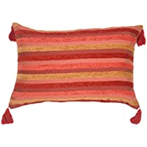 Pillow Decor - Chenille Stripes in Raspberry and Caramel Decorative Throw Pillow